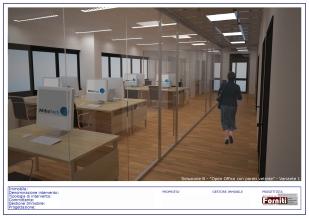"""Soluzione B - """"Open Office con pareti vetrate"""" - Variante 1TAV 2di3"""