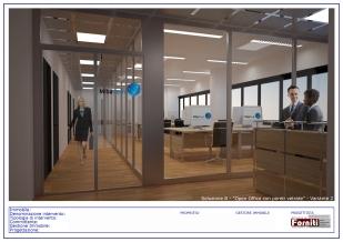 """Soluzione B - """"Open Office con pareti vetrate"""" - Variante 2 TAV1di2"""
