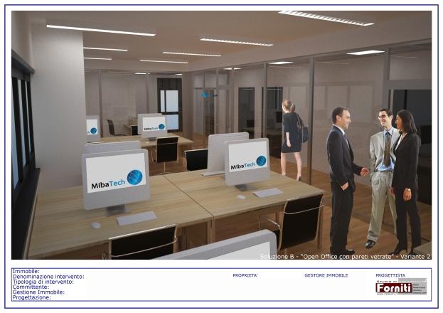 """Soluzione B - """"Open Office con pareti vetrate"""" - Variante 2 TAV2di2"""